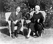 First Ladies Framed Prints - Herbert Hoover seated with his wife Framed Print by International  Images