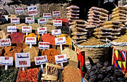 Middle Ground Photos - Herbs and spices displayed on stall in bazaar by Sami Sarkis