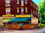 Resto Bars Paintings - Hercules Souvlaki Montreal by Carole Spandau