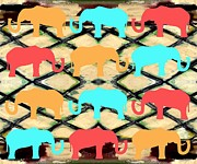 Surreal Prints Framed Prints - Herd Of Elephants Framed Print by Patrick J Murphy
