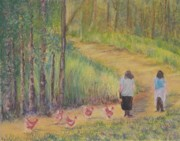 Woods Pastels - Here Chicky-chicky-chicky by Lisa Bell