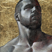 Gold Mixed Media - Here comes the light 5 by Chris  Lopez