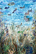 Pm Ernst Painting Prints - Here Fishy Fishy Print by Pm Ernst