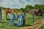 New York Painter Paintings - Here Horsey Horsey by Charlotte Blanchard