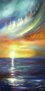 Tropical Sunsets Posters - Here It Goes - Vertical Colorful Sunset Poster by Gina De Gorna