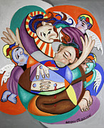 Cubist Mixed Media Framed Prints - Here my Prayer Framed Print by Anthony Falbo