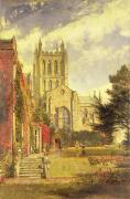 1843 Framed Prints - Hereford Cathedral Framed Print by John William Buxton Knight