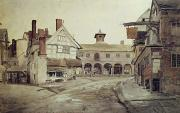 Old Town Painting Prints - Hereford Print by Cornelius Varley