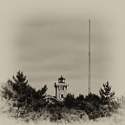 Lighthouse Digital Art - Hereford Inlet Lighthouse in Sepia by Bill Cannon