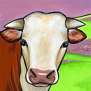 Cows Paintings - Hereford by Leanne Wilkes