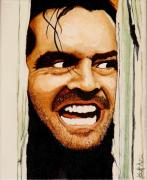 Horror Movies Painting Framed Prints - Heres Johnny Framed Print by Al  Molina
