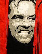 Jack Nicholson Painting Originals - Heres Johnny by Doran Connell