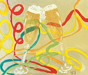 Champagne Painting Originals - Heres To You And Heres To Me by Michael Knight