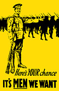 Ww1 Mixed Media Prints - Heres your chance Its men we want Print by War Is Hell Store