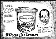 Thedailydose.com Drawings Originals - Herman Cain black walnut ice cream political cartoon by Yasha Harari