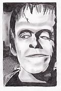 Celebrity Portraits Drawings Posters - Herman Munster Poster by Jason Kasper