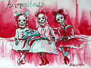 Sisters Framed Prints - Hermanitas Framed Print by Heather Calderon