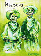 Dia De Los Muertos Framed Prints - Hermanos Framed Print by Heather Calderon