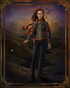 Blue Digital Art Originals - Hermione Granger 8x10 Print by Christopher Ables