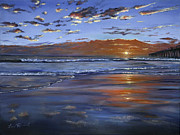 Beach Sunset Paintings - Hermosa Sunset by Lisa Reinhardt