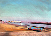 Pier Pastels - Herne Bay Boat and Pier by Paul Mitchell