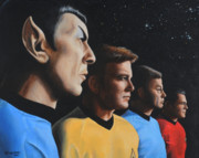 Captain Kirk Framed Prints - Heroes of the Final Frontier Framed Print by Kim Lockman
