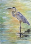 Malibu Painting Posters - Heron at the Lagoon Poster by Patricia Pushaw