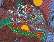 Tribal Art Paintings - Heron Fishing by Bart Theiler