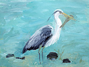 Snowy Egrets Painting Posters - Heron Fishing Poster by Lisa Baack