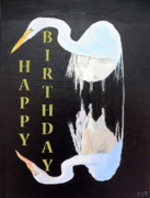 Asia Mixed Media Acrylic Prints - Heron Happy Birthday Acrylic Print by Eric Kempson