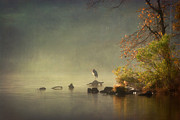Foggy Day Posters - Heron in Morning Mist Poster by Susan Isakson