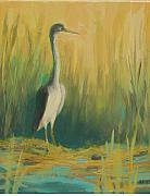 Renee Kahn Painting Posters - Heron In The Reeds Poster by Renee Kahn
