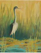 Heron In The Reeds Print by Renee Kahn
