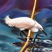 Swamp Pastels Posters - Heron Poster by James  Mingo