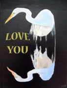 Asia Mixed Media Acrylic Prints - Heron Love You Acrylic Print by Eric Kempson