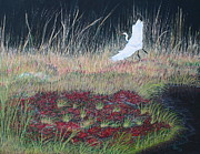 Pond Paintings - Heron Over Autumn Marsh by Cindy Lee Longhini