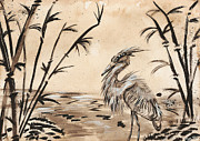 Oriental Style Paintings - Heron by Sydney Zmitrewicz