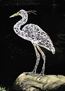 Wire Sculpture Sculptures - Heron by Tommy  Urbans
