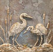 Tile Reliefs - Herons and cattails by Karen McEwen