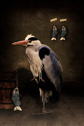 One Animal Mixed Media Posters - Herons home Poster by Angela Doelling AD DESIGN Photo and PhotoArt