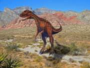 Dinosaur Illustration Mixed Media Prints - Herrarsaurus In Desert Print by Frank Wilson