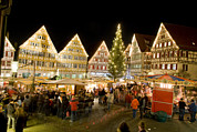 Town Square Photo Posters - Herrenberg Christmas Market At Night Poster by Greg Dale
