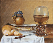 Pewter Jug Prints - Herring Still Life Print by Kat Mar
