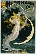 Tricks Painting Prints - Herrmann Maid of the Moon Print by Unknown