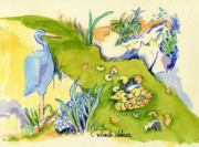 Blue Herron Painting Framed Prints - Herron Pond Framed Print by Pamee Hohner