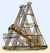 Pioneers Framed Prints - Herschels Great Telescope, 18th Century Framed Print by Sheila Terry
