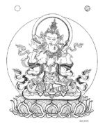 Tibet Drawings Framed Prints - Heruka-Vajrasattva -Buddha of Purification Framed Print by Carmen Mensink