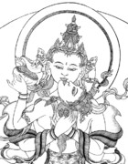 Tibetan Buddhism Drawings Posters - Heruka Vajrasattva Close-Up Poster by Carmen Mensink