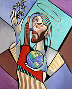 Jesus Mixed Media Prints - Hes Got The Whole World In His Hand Print by Anthony Falbo