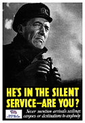 British Propaganda Prints - Hes In The Silent Service Print by War Is Hell Store